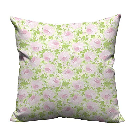 - YouXianHome Decorative Couch Pillow Cases Classical Spring Yard Florescence Pastel Flourish Pattern Light Pink Light Green Easy to Wash(Double-Sided Printing) 16x16 inch