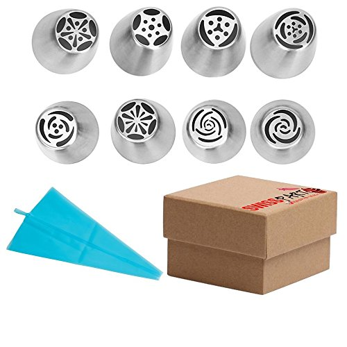 8pcs-stainless-steel-russian-cake-decorating-icing-tips-kit-extra-large-piping-nozzles-and-12-reusab