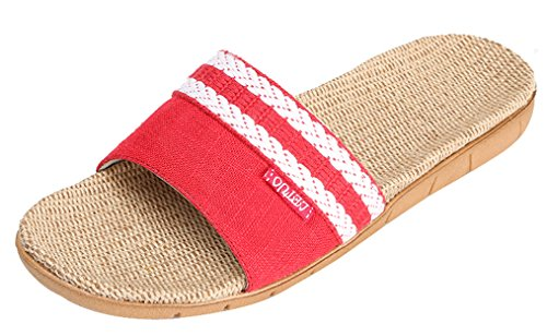 Blubi Womens Summer Open Toe Flax Summer Slippers Comfortable House Slippers Red (2) 3GgjpCAcGE