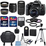 Canon EOS Rebel T6i 24.2MP DSLR Digital Camera & Canon EF-S 18-55mm f/3.5-5.6 IS STM & Canon EF 75-300mm f/4-5.6 III Lens +HD 58mm wide angle & Telephoto Lens +Total 24GB of Memory +Deluxe Bundle