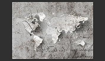 Trompe l oeil B/éton Carte du Monde inscription k-A-0018-a-a D/éco murando 350x256 cm XXL Papier peint intiss/é Tableaux muraux