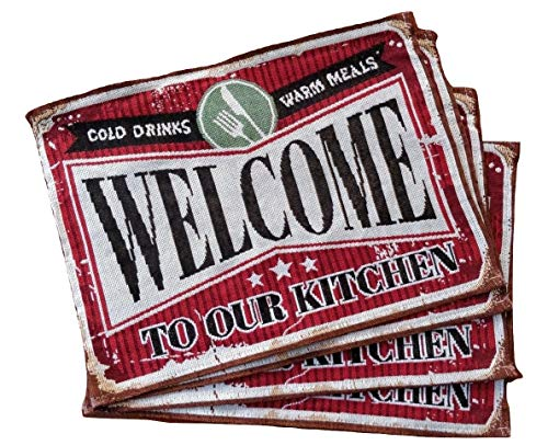 Granite Mountain Products Kitchen Placemats Set of 4 – Welcome to Our Kitchen – Rustic Farmhouse Decor Place Mat Set for Dining Room and Kitchen Tables