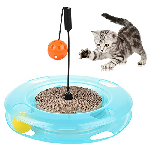 Petacc Cat Toys Cat Interactive Play Ramp Cat Intelligence Toy with Hanging Ball and Track Ball for Cats Kitten