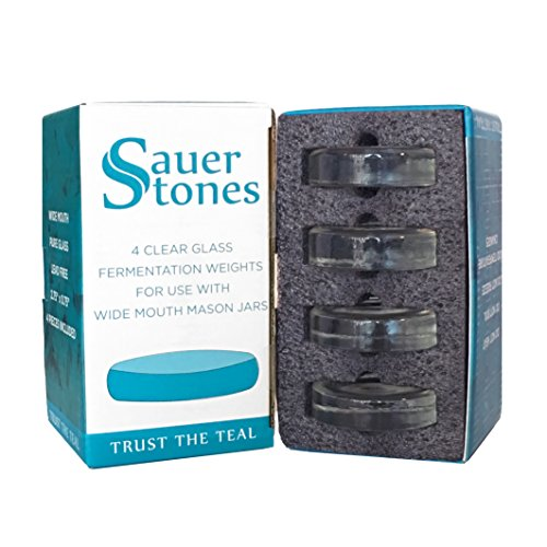 Sauer Stones - Large Glass Fermentation Weights for Mason Jar Fermentation, Preservation and Pickling - Fits ANY WIDE MOUTH MASON JAR - 4 Pack by Fermentology (Image #2)