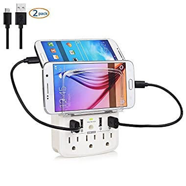 Cable Matters 3-Outlet Power Surge Protector with 4 USB Charging Ports and Micro-USB Charging Cables
