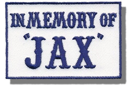 "[Single Count] Custom and Unique (3'' x 2'') Rectangle ""Political"" ''In Memory Of Jax'' Outlaw Vest Embroidered Applique Patch {Blue & White Colors} [Licensed] by Patch Squad USA"