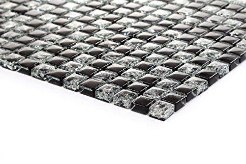 Nero crackle e tinta unita vetro mosaico piastrelle foglio mt