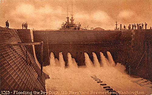 Military Battleship Postcard, Old Vintage Antique Military Ship Post Card Flooding Dry Dock, US Navy Yard, Bremerton, WA, USA Writing on back