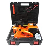 M PLUS 4 in 1 12V DC 5T (11023lb) Electric Hydraulic Floor Jack with Inflating Pump,Compact Wrench and Flashlight Portable Car Repair Tool Kit Ideal for Vehicle Repairing and Tire Replacing