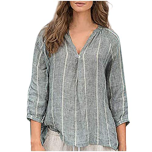 Tops for Women Dainzuy Striped Printed Long Sleeve V-Neck Cotton and Linen Lightweight Casual Top Blouse Shirts