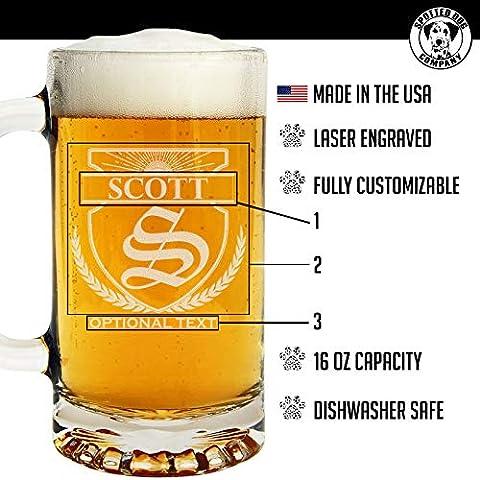 Personalized Etched Monogram 16oz Glass Beer Mug