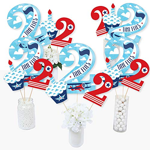 2nd Birthday Taking Flight - Airplane - Vintage Plane Second Birthday Party Centerpiece Sticks - Table Toppers - Set of 15 ()