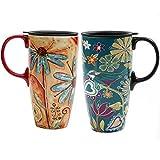 Topadorn 17 oz Tall Ceramic Travel Mug Coffee Cup with Sealed Lid,Set of 2