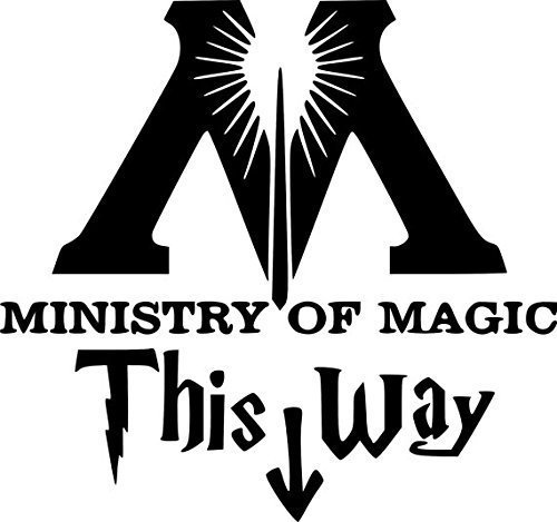 thu Harry Potter Posters Ministry of Magic Toilet Decal This Way Harry Potter Quotes Wall Sticker Home Decor Decal DIY Parody Rest Room Art (19 x 16cm) ()