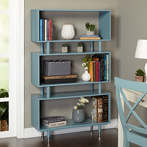 ModHaus Living Mid Century Modern Wooden Accent Bookshelf in Blue Finish with 3 Shelves and Silver Legs - Includes Pen