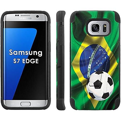 Samsung Galaxy S7 Edge /GS7 EDGE Phone Cover, Brazil Flag with Soccer Ball - Black Armor Kick Flip Grip Phone Sales