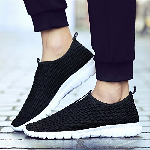SANBANG Mens Womens Sneakers Athletic Casual Flat Slip-On Loafers Boat Shoes For Walking Running Driving Black 6th7i5GRap