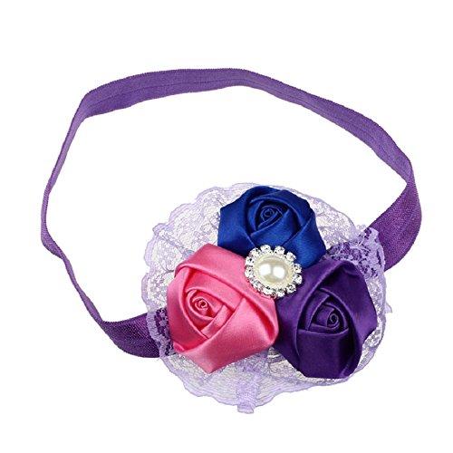FEITONG(TM) Baby Girls Elastic Hair Band Rose Pearl Diamond Lace Headband