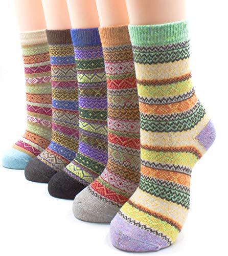 JiYe Thermal Fuzzy Wool Socks Women Cozy Winter Crew Socks 5-Pack, Ripple, shoe sizes 5 to 9