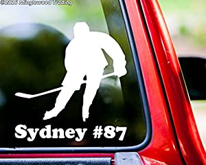 "Ice Hockey Player V3 vinyl decal sticker with Personalized Name 5"" x 5.5"" Stick Puck"