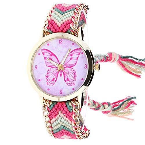 Relojes de Mujer, Patrón de Mariposa Tejidos a Mano Pulsera de Cadena Reloj Análogo Único