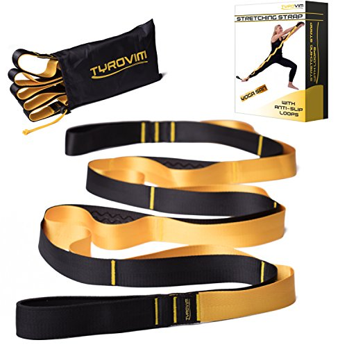 Yoga Stretch Out Strap by TyroVim With 12 Non Slip Loops For Physical Therapy And Flexibility + Stretching Exercise eBook & Carrying Bag