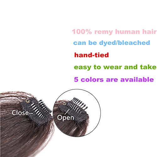 HIKYUU Bangs Hairpiece Clip-in Front Straight Hair Bangs Extensions without Temples Natural Black 100% Real Remy Human Hair Natural Looking by HIKYUU (Image #6)