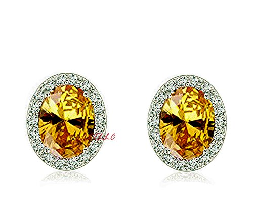 (CZ Stud Earrings 4ct OVAL CUT Halo Russian Cubic Zirconia,Simulated diamond, sapphire, emerald, yellow diamond men women gift bridal)