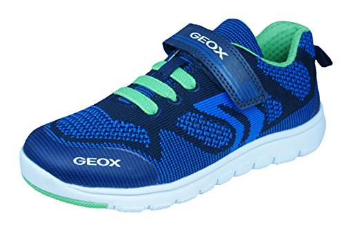 Geox Xunday Navy Blue Green Lightweight Textile Hook and Loop Strap Elastic Lace Sporty Low Top Breathable Sneaker 28 M EU/10.5 M US Little Kid ()