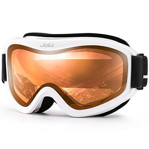 JULI OTG Ski Goggles-Over Glasses Ski / Snowboard Goggles for Men, Women & Youth - 100% UV Protection Anti-fog Dual Lens(White Frame+35%VLT Citrus Orange - Orange Lenses