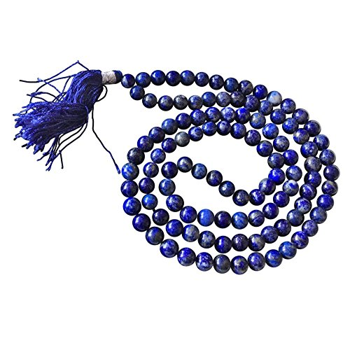 'Serenity and Compassion' Artisan Crafted Genuine Gemstone Jaap Mala 108 Beads - Handmade Ethically Sourced from India - Sent in BellaMira Gift Box (Lapis - Artisan Beads Natural