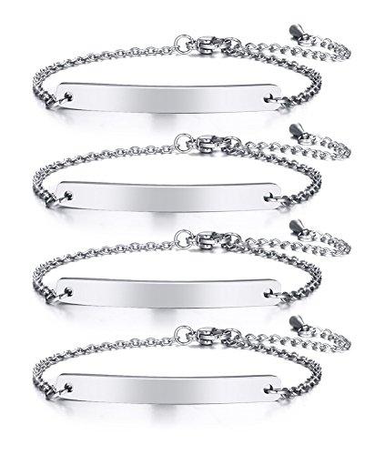 VNOX Personalized Dainty Bar Stainless Steel Link Friendship Adjustable Bracelet for Women Girl,4Pcs ()