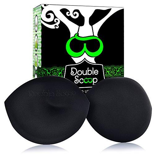 Double Scoop Divine Women's Plus Size Lift & Support Bra Inserts, Black, D/DD/E/F Cup