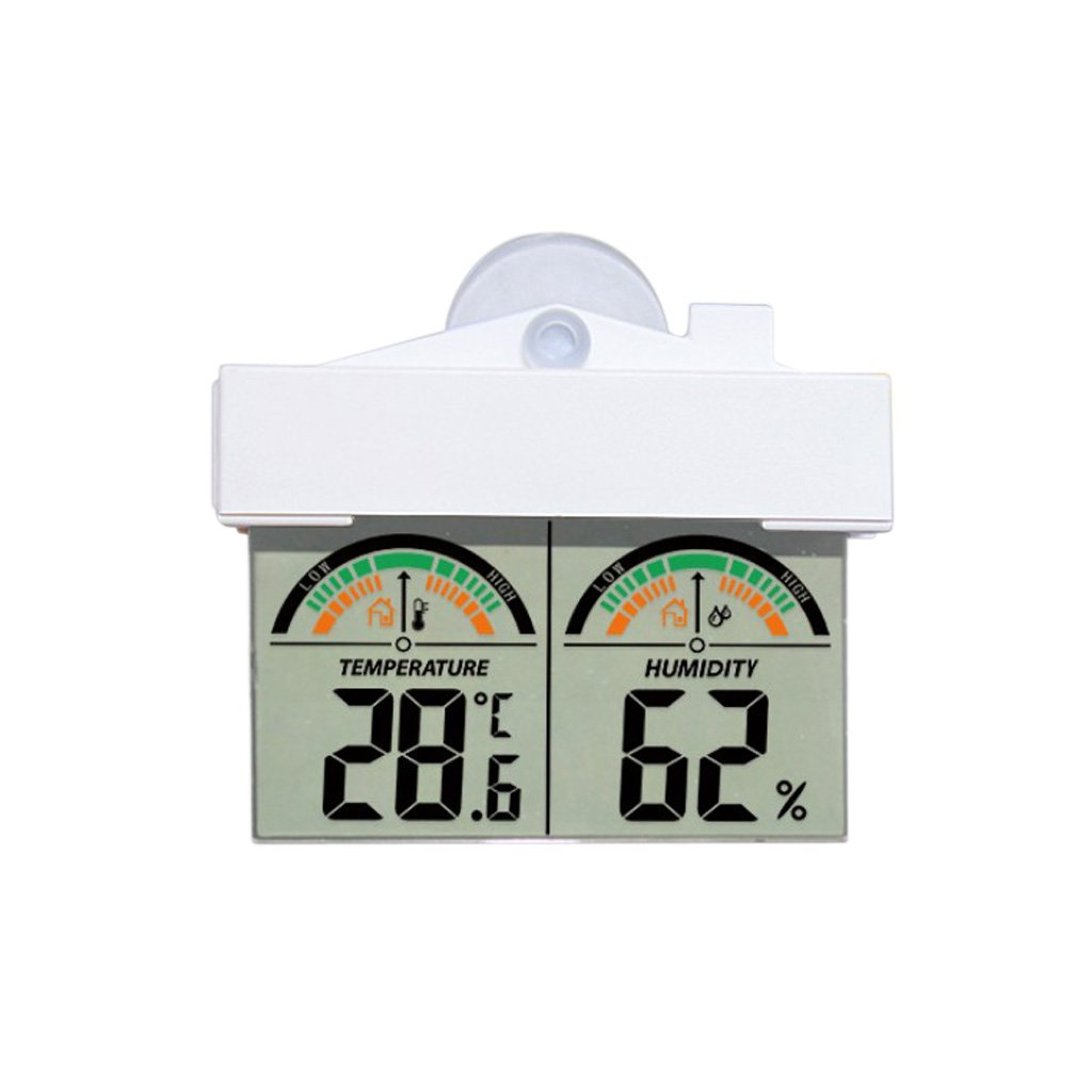 MagiDeal House-Shape Weather Meter Temperature Humidity Meter Car Window Glass Mirror Wall Suction