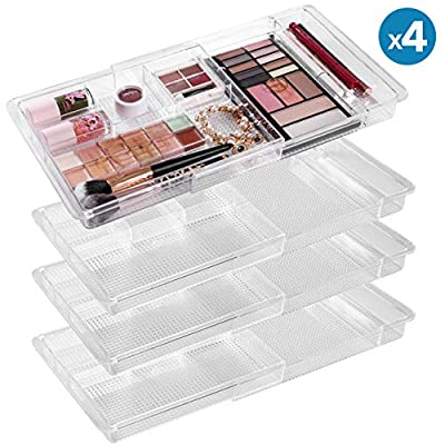 "Expandable Drawer Organizer 11"" to 18.8"" Wide Adjustable Makeup Organizer (4 Packs), Clear Plastic Storage Trays with 6… - AMAZING QUALITY: Our top tier women make up organizer is designed to be durable and BPA free with exceptional workmanship. This cosmetic organizer has high transparency and can be washed easily with soap and water EFFICIENT STORAGE: With six compartments and an unfolded customizable part, you can store any brush, palette, hair ties, jewelry, and accessories easily in the organizer; the extension function allows you to put this organizer anywhere from bathroom to dress table to drawers EXPANDABLE DESIGN: Our scalable design gives you the flexibility to expand the 11""x 7.7""x 1.2"" storage organizer to 18.8"" wide, creating more free space options - organizers, bathroom-accessories, bathroom - 51mlvMcCsrL. SS400  -"
