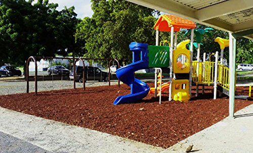 Colored Bulk Rubber Mulch for Playgrounds and Swing Sets [2000 Lbs] Recycled Tire Rubber Surfacing for Outdoor Safety - Eco-Friendly, Easy to Install and Incredibly Durable (Brown)