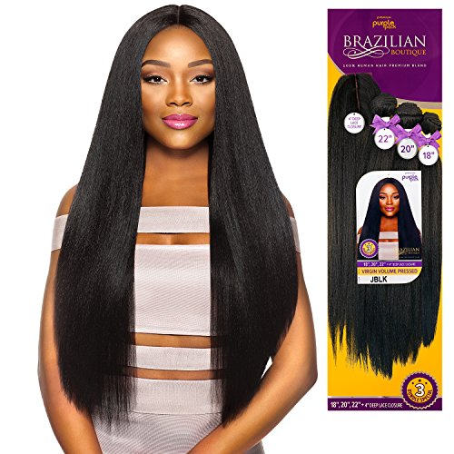 Outre Human Hair Blend Weave Premium Purple Pack Brazilian Boutique Virgin Volume Pessed 18