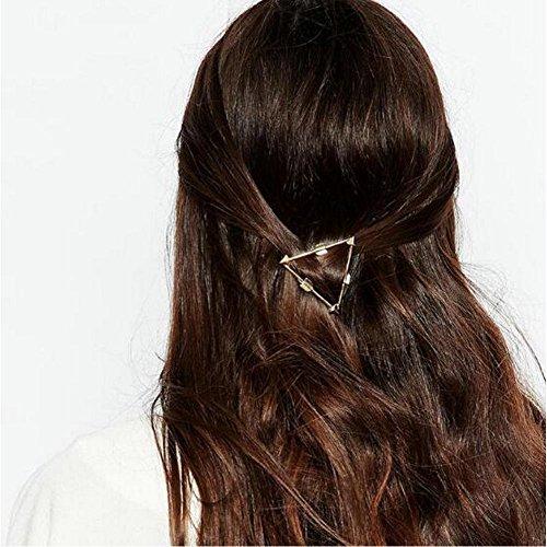 Joyci 1Pcs Hollow Triangle Geometric Metal Hairpin Women Girls Side Clip (Gold)