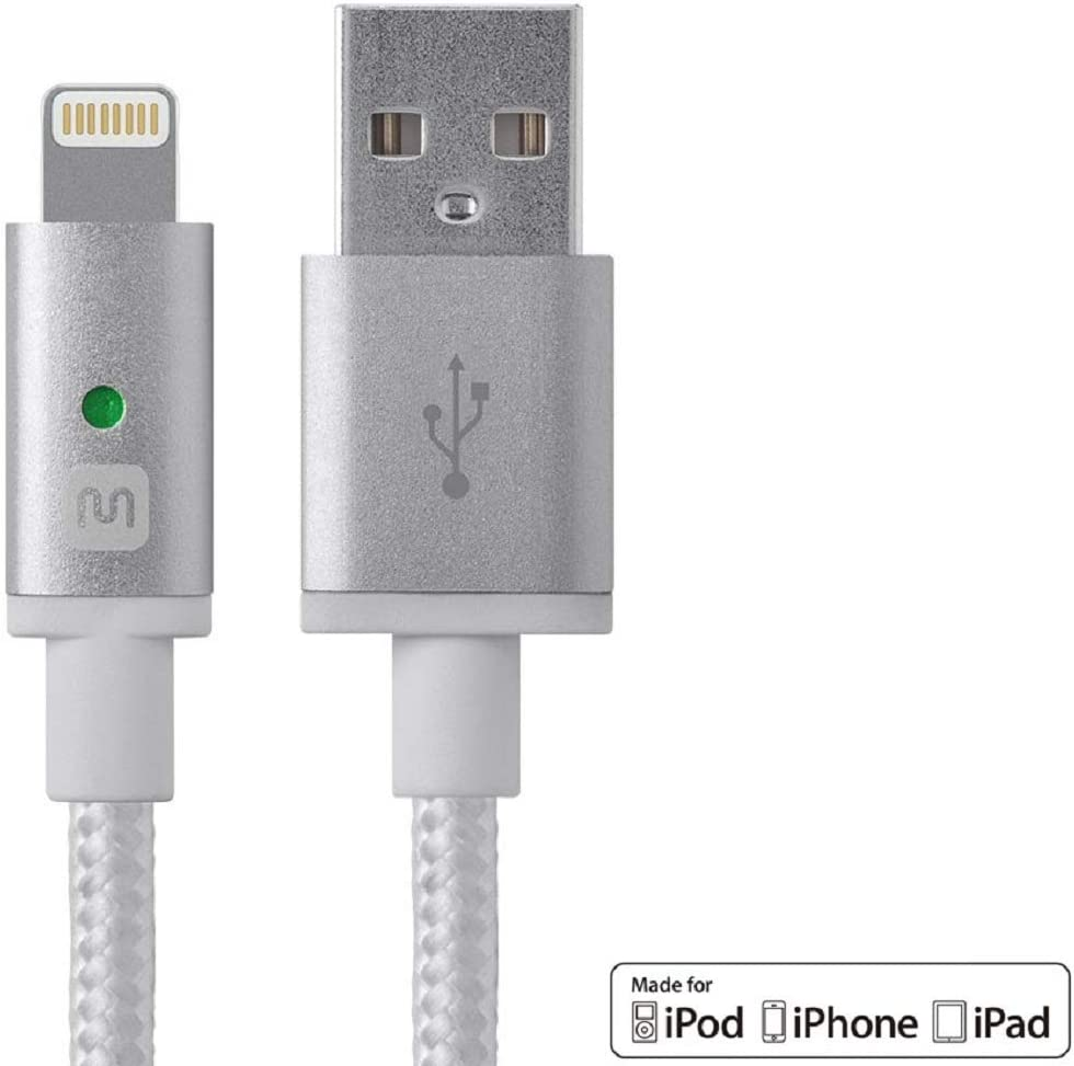 Monoprice 112872 Apple MFi Certified Lightning to USB Charge & Sync Cable - 6 Feet - White Compatible With iPhone X 8 8 Plus 7 7 Plus 6s 6 SE 5s, iPad, Pro, Air 2 - Luxe Series