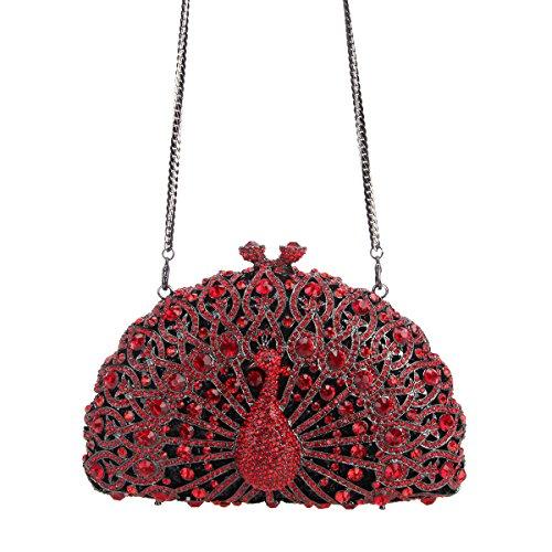 Girls Clutch For Crystal Bag Evening Silver Red Pure Glitter Bonjanvye Peacock waZtHn1XWq
