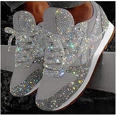 XXXZZL Zapatillas para Mujer Zapatos Respirable Mocasines Deportes Deportivos de Running para Mujer Transpirable con Cordones Ligero Sneakers 2020 Moda Zapatos de Lentejuelas Caminar Zapatos,Plata,43: Amazon.es: Hogar