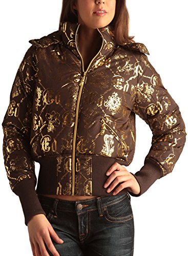 Ed Hardy Womens Logo Puffer Jacket -Coffee - X-Small ()