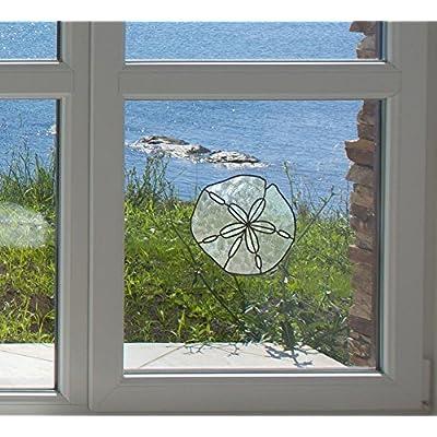 "Sand Dollar - Stained Glass Style - See-Through Vinyl Window Decal - Copyright 2016 Yadda-Yadda Design Co. (MED 5""w x 4.75""h) : Baby"
