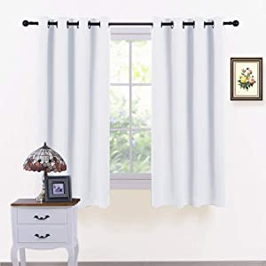 PONY DANCE Window Curtains White - Home Decoration Room Darkening Thermal Double Short Curtain Panels for Bedroom/Kitchen, 52 inches Wide by 45 Long, Pure White, Set of 2