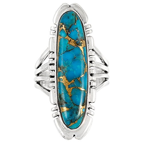 Sterling Silver Ring with Genuine Turquoise & Gemstones (SELECT color) (Teal/Matrix Turquoise, 8) by Turquoise Network (Image #2)