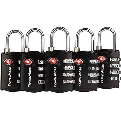Samsonite Lock Luggage (5 Pack TSA Luggage Locks with 4 Digit Combination - Heavy Duty Set Your Own Padlocks for Travel, Baggage, Suitcases & Backpacks - Black)