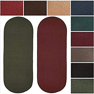 product image for Rhody Rug Madeira Indoor/Outdoor Oval Braided Runner Rug (2' x 6') - 2' x 6' Runner Red