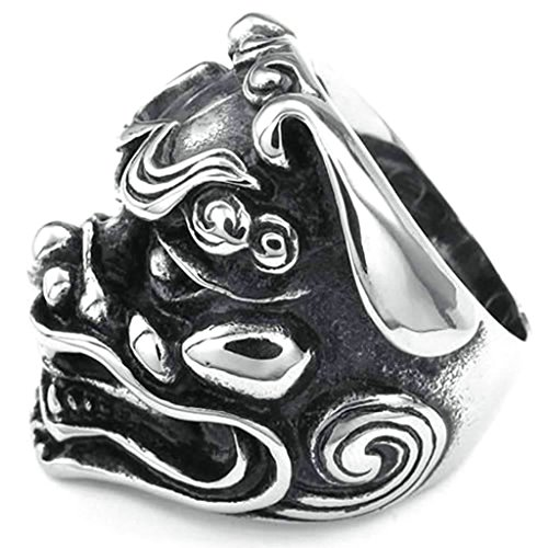 [Daesar Stainless Steel Rings Mens Punk Rings Silver Black Rings Men Lion Rings Biker Design Size:11] (Lion Costume Philippines)