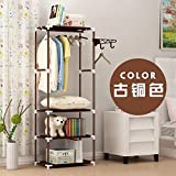 XENO-Wardrobe Closet Storage Organizer Clothes Portable Rack Armoire Cabinet Shelves(copper color)