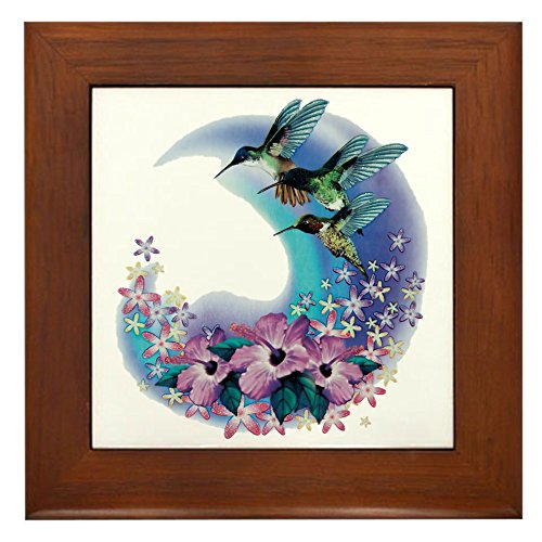 Framed Tile Hummingbird And Hibiscus